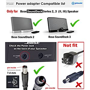 T-Power ( +/-18v ) Ac Dc Adapter for Bose SoundDock Series 2, 3, II, III (ONLY); 310583-1130, 310583-1200 Music System PSC36W-208 : Wireless Speaker Charger Power Supply (( NOT 4-PIN ADAPTER )