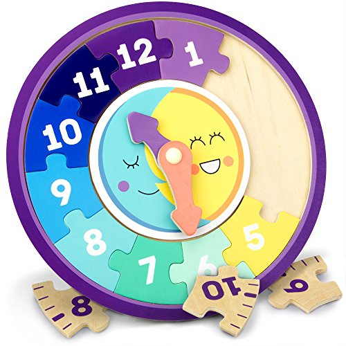 Clock Hands Puzzle - Day & Night Teaching Clock, 13-piece Wooden Reversible Jigsaw Puzzle Clock Faces for Basic and Advanced Levels by Imagination Generation
