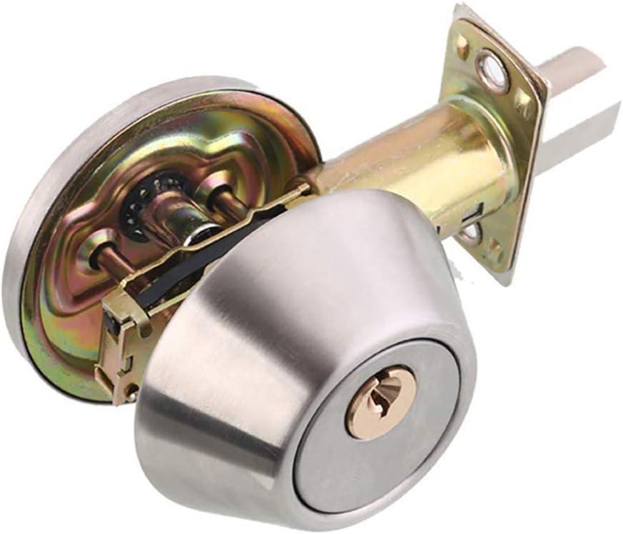 Drenky Cerradura de cilindro simple de acero inoxidable Perilla de mango de bloqueo de seguridad, pestillo ajustable 60 mm - 70 mm, con llaves