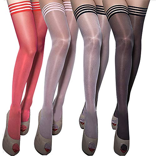 4 Pairs Stay Up Striped Top Thigh High Stockings (4Mixed color)