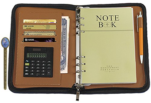 Up-scale PU Leather Cover A5 Zipper Notebook Spiral Bound Loose-leaf Business Notepad Travel Journal Diary Memo Book with Calculator Card Slot Pen Holder Loop Folder Organizer Office Stationery, Black