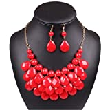 Red Oval Lucite Bubble Bib Statement Choker Collar Necklace Earrings Set