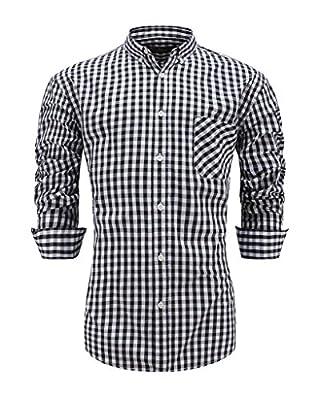 Emiqude Men's Casual Long Sleeve Button Down Dress Shirt