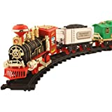 Toyshine Vintage Train with Big Track and Real Smoke Battery Operated with Flashlight