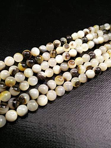 (World's Natural Treasures - Natural Black Lip Shell Beads 6mm Round Gemstones DIY Earrings Bracelet Religious Prayer Rosary Yoga Mala Necklace Bohemian Jewelry Findings)