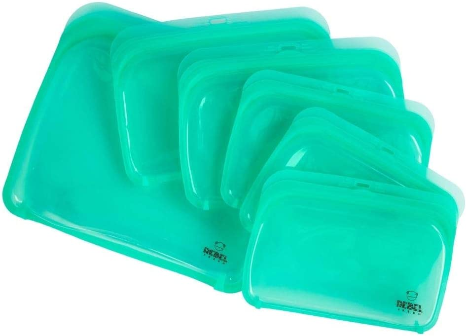REBEL FRESH Reusable Food-Grade Silicone Storage Bags, Dishwasher, Microwave, Sous Vide, Freezer and Oven Safe. 6 Pcs. Airtight Ziplock Bags. Kitchen Storage Solution. Green