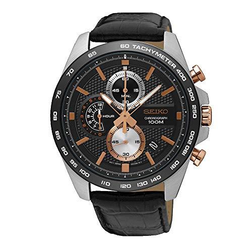 Seiko Herren-Uhr Chronograph mit Lederarmband SSB265P1