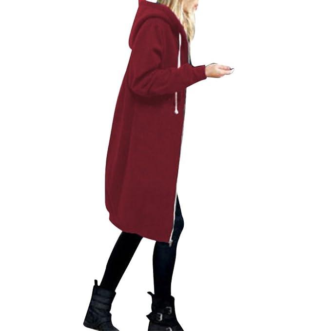 JiaMeng Abrigo de Mujer Cardigan Abrigo Largo Cremallera Caliente Sudaderas con Capucha Abierta Larga Chaqueta Tops Outwear: Amazon.es: Ropa y accesorios