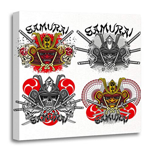 Emvency Canvas Wall Art Print Ancient Ninja Samurai Mask Skull Sets Helmet Armor Asia Artwork for Home Decor 20 x 20 Inches