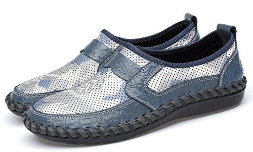 Coloré Rond Fermeture Homme Mocassins à Enfiler Bleu Loafers Easemax Léger Bout xq0XanH