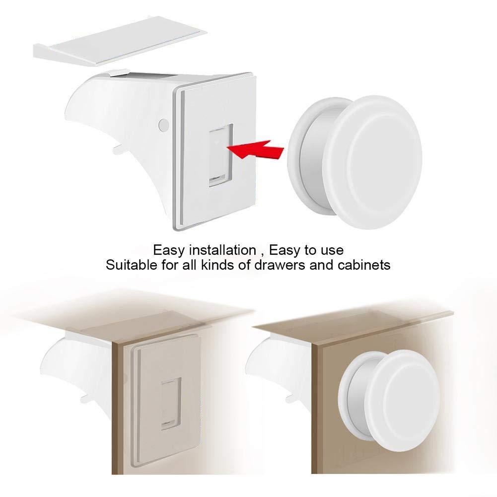 yuyte Cerradura de Seguridad para beb/és Cerradura de casillero im/án Invisible 10 cerraduras y 2 Llaves Fusible para ni/ños para cocinas c/ómoda Puerta de gabinete