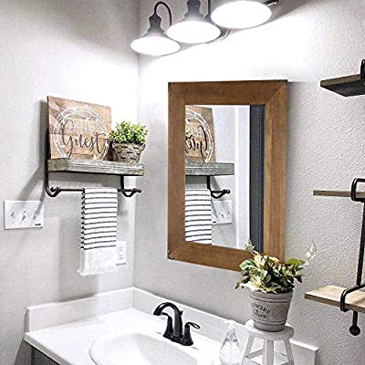 Rustic Wood Frame Wall Mirror, Vanity Mirror, Makeup Mirror, Bathroom Mirror with Decorative Metal Corners for Farmhouse Living Room Bathroom Bedroom (23 x 17 inch) - DECORATIVE ACCENT MIRROR - Each Individual wood framed mirror with decorative metal Corners is hand crafted with wood frame with a natural finish for a sophisticated and timeless style. DECORATIVE YOUR HOME:This 10.5''*15'' mirror will be sure to make the perfect rustic statement in any room of your home! They can add depth to a room, alter a view, or add personality to your decor. COMPLETE YOUR DECORATION PROJECTION: Eye-catching mirror wall decor that is perfect to mount in an entry or hallway, living room or bedroom. - bathroom-mirrors, bathroom-accessories, bathroom - 51LbrI62shL. SS400  -