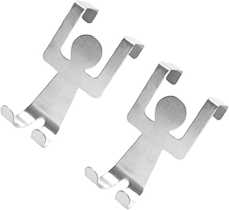 fedsjuihyg Car/ácter 2pcs Set de Acero Inoxidable en Forma de Dibujos Animados Puerta Trasera colgadores Hat Pared Gancho de la Percha de Ropa Rack de Almacenamiento de Herramientas
