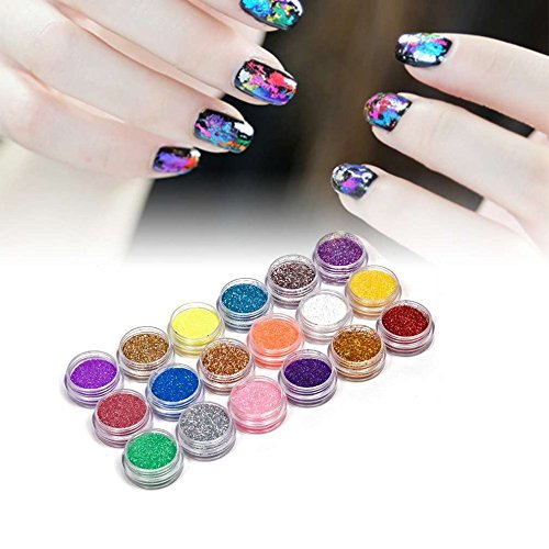 Cosmetic Glitter Loose Glitter Eyeshadow - 18 Colors Nail Art Glitter Powder Dust Decoration kit For Acrylic Tips UV Gel DIY Wholesale Nail Glitter - Nail -