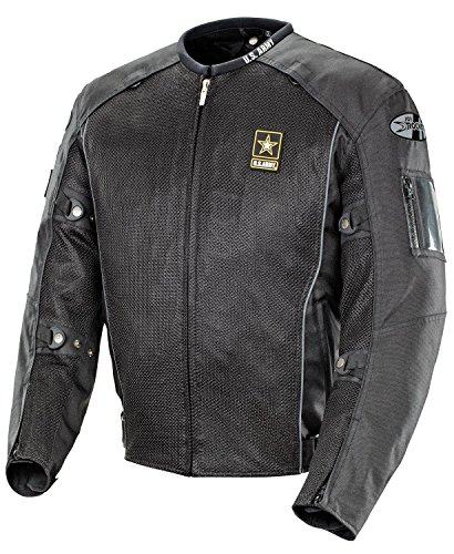 Joe Rocket U.S. Army Recon Men's Mesh Sports Bike Racing Motorcycle Jacket - Black / X-Large
