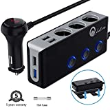 120W Car Charger, Qidoe 12V/24V 3-Socket Cigarette Lighter Splitter Quick Charge 3.0 and Three 2.4A USB Outlet with Voltmeter Power Switch for for GPS, Dash Cam, Sat Nav, Phone, Android, iPad, Tablet