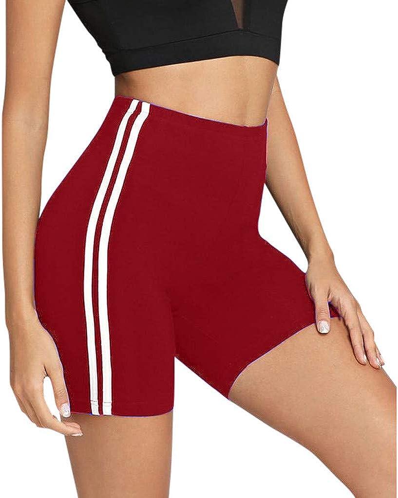 RTYou Women Workout Yoga Shorts Mid Waist Side Stripe Tummy Control Running Shorts Bike Active Short Leggings