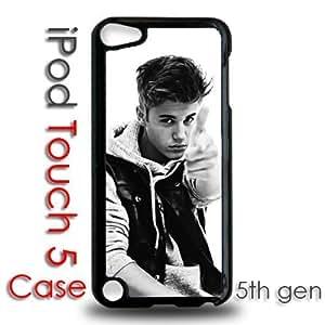 IPod 5 Touch Black Plastic Case - Justin Bieber Black and White