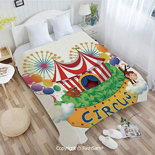 PUTIEN 3D Print Flannel Blanket Carnival with a Circus Signboard Cirque Leaves Plants Fireworks Monkey for Fun Playroom Decorations(59Wx78L)