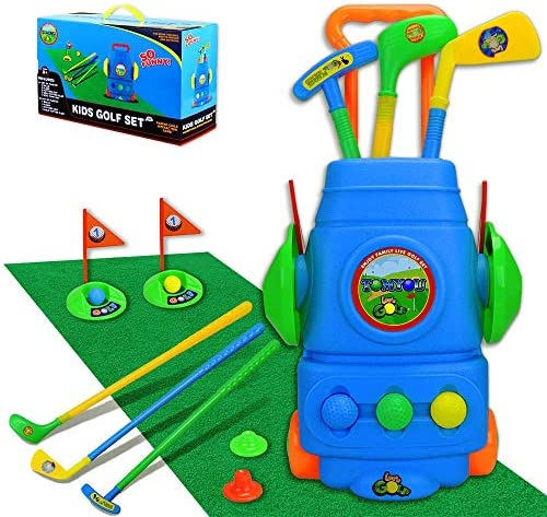TOMYOU Kids Golf Toy Set – Golf Cart with Hitting Mat, Toddler Golf Toy, Indoor & Outdoor Sports Toys Gift for Boys, Girls 3 4 5 6 Year Old [Exquisite Packaging]