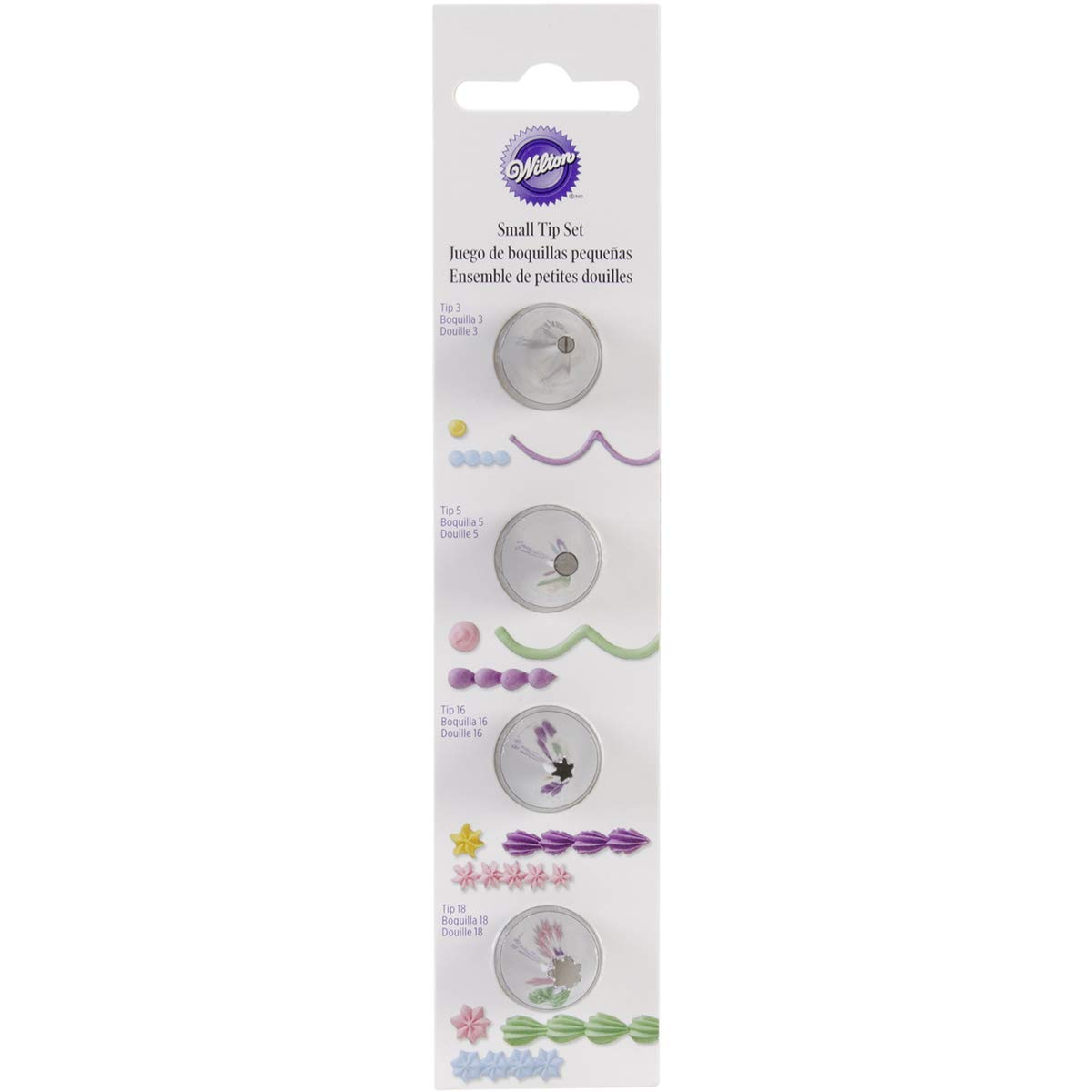 Wilton 418-1700 Small Round Piping Tip and Small Star Piping Tip Set, Stainless Steel, Silver, 4 Pieces