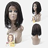 YXCHERISHAIR 12inch Short Bob Lace Front Wig with Baby Hair,Ombre Brown Box Braid Synthetic Wigs for Black Women Heat Resistance (12 inch 1 piece, #4)