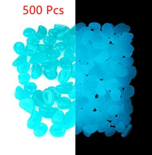 ASIBT 500 Pcs Glow in the Dark Stones,Garden Pebbles Rocks for Outdoor, Walkway, Window, Yard Grass, and Fish Tank Decoration(Blue)