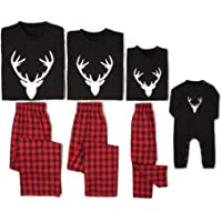 Yaffi Family Matching Pyjamas Set Christmas Festival Outfits Two Pieces Deer Nightwear Sleepwear PJs Lounge Wear