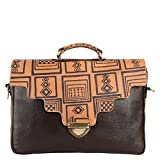 Premium Leather Printed Laptop Macbook Messenger Bags and Cases (Brown) -By Pulpypapaya…