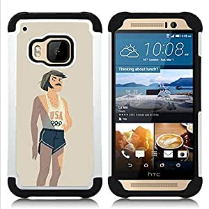 For HTC ONE M9 - USA SPORTS COMPETITION RETRO VINTAGE Dual Layer caso de Shell HUELGA Impacto pata de cabra con im??genes gr??ficas Steam - Funny Shop -