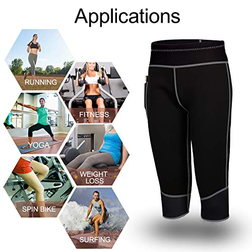 Womens Weight Loss Hot Neoprene Sauna Sweat Pants with Side Pocket Workout Thighs Slimming Capris Leggings Body Shaper (Black, M) by TrainingGirl (Image #6)