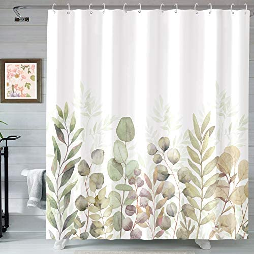 AMM Green and White Shower Curtain, Fabric Shower Curtains for Bathroom, Plant Leaves Shower Curtain Sets with 12 Hooks 72''×72'' (Green White)