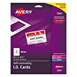 ID Card Printer - Avery Self Laminating Cards, Printable, 2-1/4 x 3-1/2, 30 ID Badge Holders (5361)