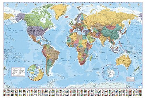 Political Map Of The World - Giant XXL Poster Print With Country Flags Names Size