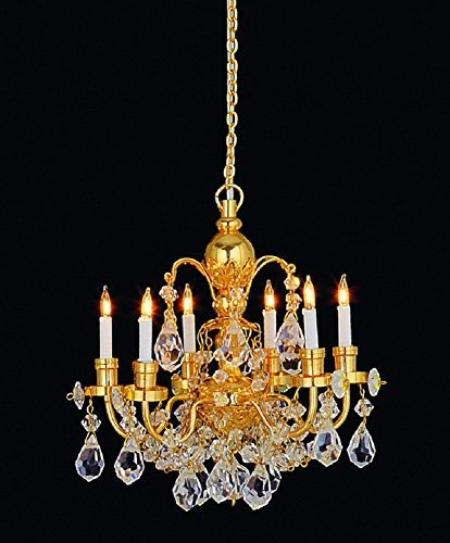 Melody Jane Dollhouse 6 Arm Real Crystal Chandelier Gold Finish Miniature Electric Light by Melody