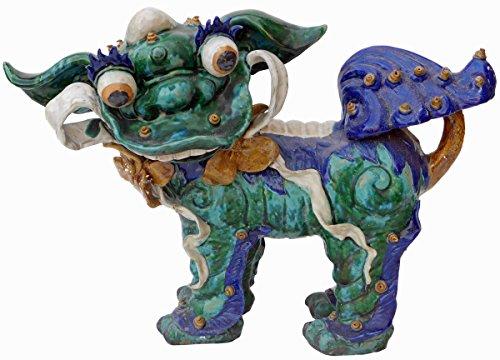 Chinese Shiwan Ceramic Green Glazed FengShui Foo Dog Figure Acs2169