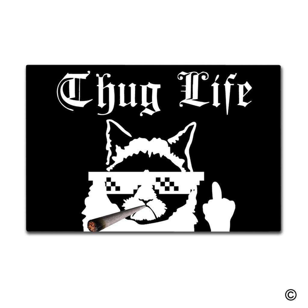 Msmr paillasson dentrée tapis de sol paillasson funny thug life cat conçu pour intérieur ou extérieur paillasson tissu non tissé top 599 x 399 cm
