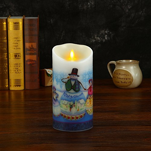 Ksperway Flameless Wax Candles, Moving Wick LED Pillar Candle with Blow ON/Off Control,Timer and Remote 3.5 by 7 Inch Picture (Snow Man) by Ksperway (Image #5)