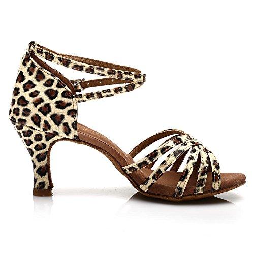 Roymall Kvinners Sateng Latin Dance Sko Modell 213 7cm Leopard