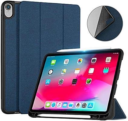 Ayotu iPad Pro 11 2018 Funda Case, Estuche de Soporte tríptico Delgado con Soporte de lápiz de Apple(con Auto Reposo/Activación Función,Soporta Cargar Apple ...