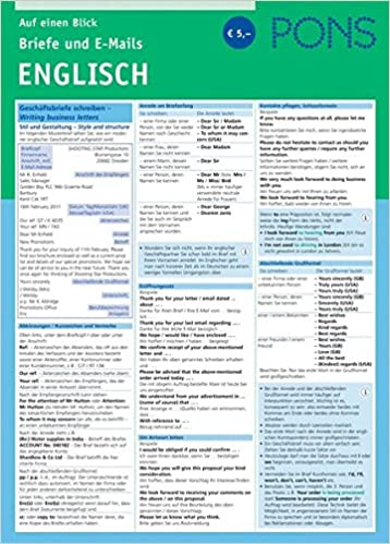 Pons Briefe Und E Mails Englisch Auf Einen Blick Pons Auf Einen