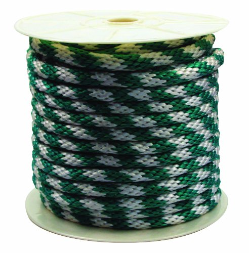 Rope King SBP-58140GW Solid Braided Poly Rope - Green/White - 5/8 inch x 140 feet