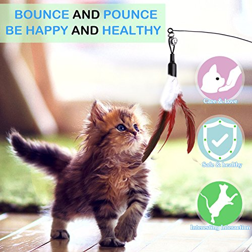 Picture of Pawaboo Feather Teaser Cat Toy, Interactive Feather Wand Cat Toy Flying Feather Cat Catcher with Extra Long 31.5