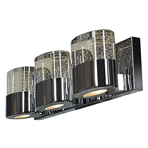 Bubbles Solid Crystal 3-Light Vanity - Opal Glass Downlight - Chrome Finish - Clear Glass Diffuser