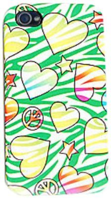 Cell Armor IPHONE4G-PC-JELLY-TE427 Hybrid Jelly Case for iPhone 4/4S - Retail Packaging - Hearts, Stars and Peace Signs on Green Zebra