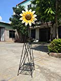 BACKYARD EXPRESSIONS PATIO · HOME · GARDEN 908066 Sunflower Yellow and White Petal Blades Windmill