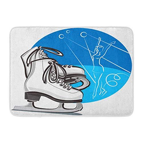 YGUII Doormats Bath Rugs Outdoor/Indoor Door Mat Ice Figure Skates Skater Boots Activity Blade Dance Bathroom Decor Rug Bath Mat 16X23.6in (40x60cm)