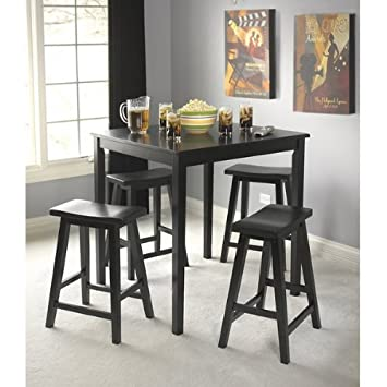 Black Belfast 5 Piece Saddle Dining Set Counter Height Table 4