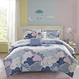 5 Piece Kids Clouds Print Duvet Cover Set Full/Queen Size, Featuring Cute Fluffy Geometric Heart Pattern Comfortable Bedding, Girly Youthful Playful Mystical Unicorn Pastel Design, Blue, Pink, Purple