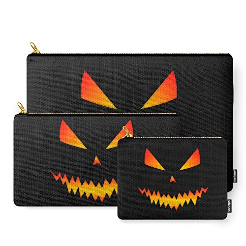 Society6 Cool Scary Jack O'Lantern Halloween Carry-All Pouch Set of 3 (Jack O Lantern Halloween Makeup)